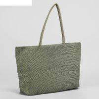Сумка текстильная однотонная, 50*10*33, отд на молнии, зелёный
