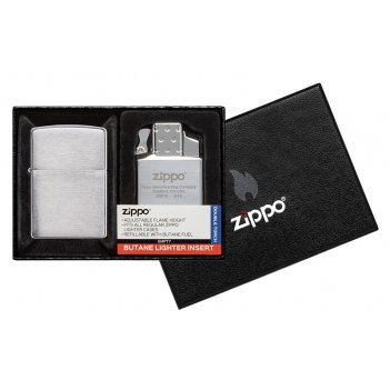 Набор zippo: зажигалка 200 с покрытием brushed chrome и газовый вставной б