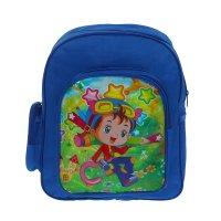 Рюкзак дет 67377, мальчуган, 25*9*30см, 1 отд, 3 нар кармана, синий