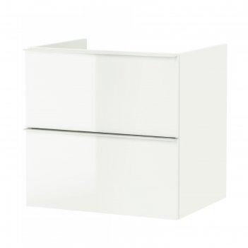 Шкаф для раковины годморгон, 2 ящика, глянцевый белый