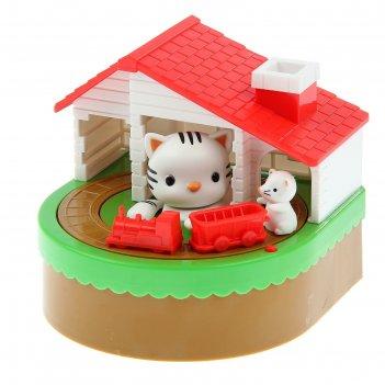Копилка пластик музыкальная кошкин дом 14х13,5х12 см
