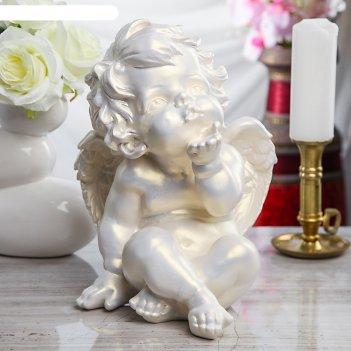 Статуэтка ангел поцелуй перламутровая, 28 см