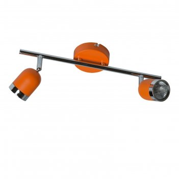 Люстра спот орион 2x35w gu10 оранжевый, хром 16x42x17см