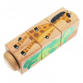Кубики деревянные на оси зоопарк 3 кубика