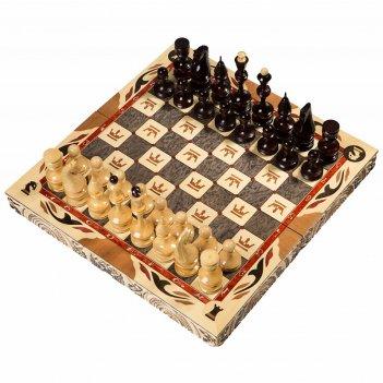 Шахматы резные ручной работы с гербом 40х40см