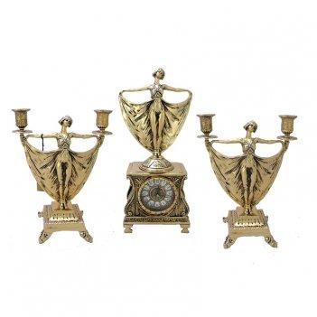 Каминные часы с канделябрами в наборе   балерина ,  золото
