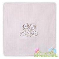 Одеяло-плед вязка мишка на качеля молоко к016-15