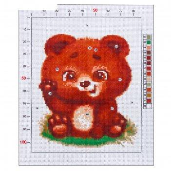 Канва для вышивания с рисунком «мишутка», 20 х 25 см