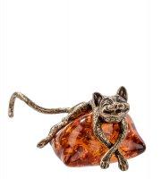 Am-363 фигурка кот на подушке (латунь, янтарь)