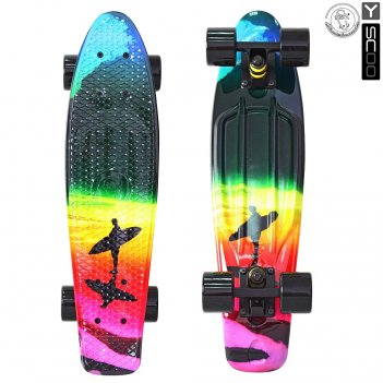 "401g-o скейтборд y-scoo fishskateboard print 22"" винил 56,6х15 с сумк"