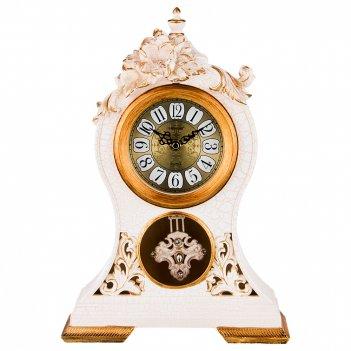 Часы настольные кварцевые цветы белые с золотом 26*10*37 см. диаметр=11 см