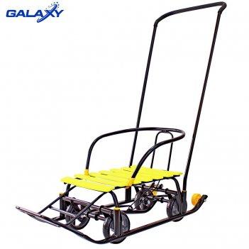 Снегомобиль snow galaxy black auto желтые рейки на больших мягких колесах