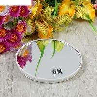 Зеркало для макияжа, с увеличением x5, круглое, d=10см, на присосках