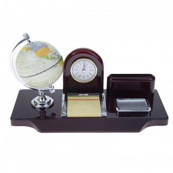 Набор настольный 5в1: часы, подставка под визитки, глобус, листы для замет