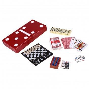 Набор игр 7 в 1: нарды, шахматы, шашки, домино, карты, кости, фиш