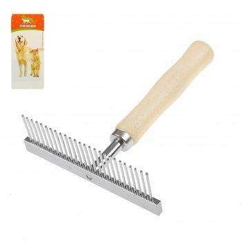 Расчёска-грабли с деревянной ручкой, 13 х 9,5 см