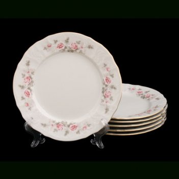 Набор тарелок роза серая 21см. 6шт.