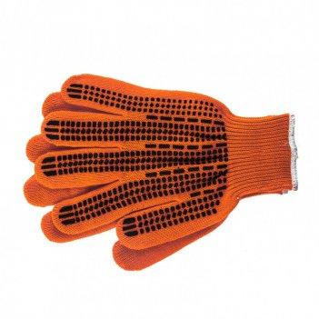 Перчатки трикотажные, акрил, пвх гель, протектор, оранжевый, оверлок росси