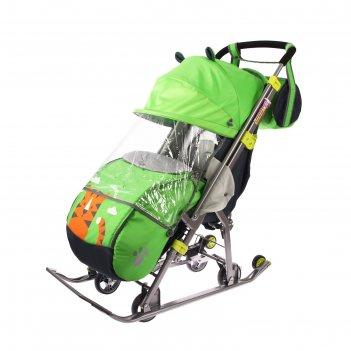 Санки коляска «ника детям 7. тигр», цвет лимонный