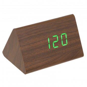 Часы-будильник электронные креон, настенные, зеленые/красные цифры, 12х8х8