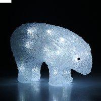 Фигура акрил. мишка 20х10 см (батарейки аа 3шт.) белый