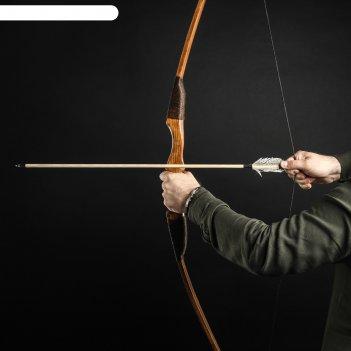Лук деревянный, взрослый фигурный, коричневый, массив ясеня, 180 см