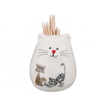 Подставка под зубочистки озорные коты 5*5*6 см без упаковки (мал=6шт./кор=