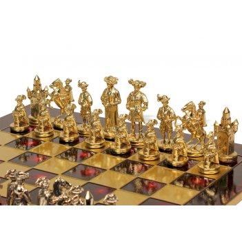 Шахматы 44х44 рыцари средневековья (зол/брнз, красная доска) manopoulos