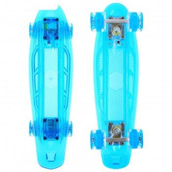 Скейтборд 56х14 см, световой, колеса pu 60х45 мм, цвета микс
