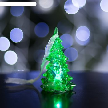 Игрушка световая ёлочка (батарейки в комплекте) 8 см, 1 led, rgb, зелёная