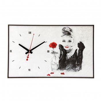 Часы настенные, серия: люди, одри хепберн, 37х60 см