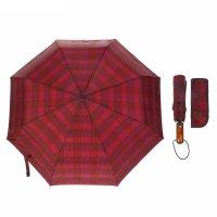 Зонт автоматический «клетка», 3 сложения, 8 спиц, r = 50 см, цвет бордовый