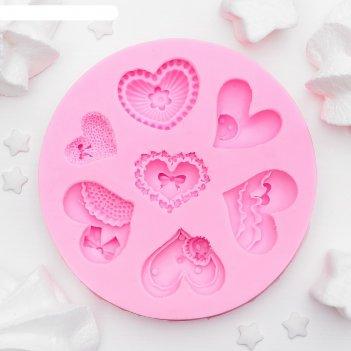 Молд силиконовый 9,5х9,5х1 см сердца ажурные