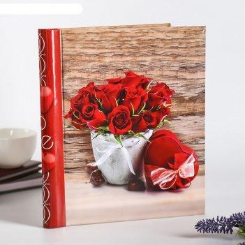 Фотоальбом  магнитный на 10 листов красные розы 23x28см