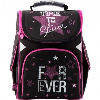 Ранец стандарт gopack 5001s 34*26*13 дев for ever, чёрный/розовый go19-500