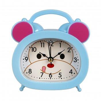 Ретро-будильник обезьянка, овал, на циферблате мордочка, микс цветов, 12,5
