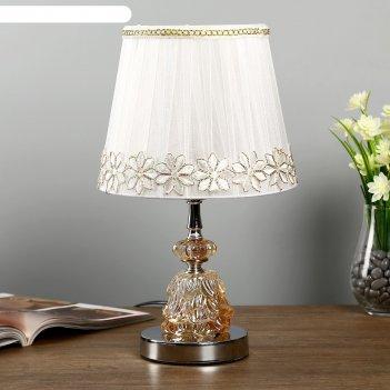 Лампа настольная с подсветкой rgb  арион 1х40вт е27 220в хром 21х21х35 см.