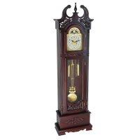 Часы напольные механические, шпиль на крыше с вырезанным узором и узор на