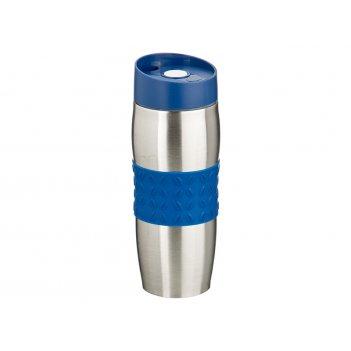 Термокружка agness 400 мл. с силиконовой вставкой и кнопкой-стопером (кор=