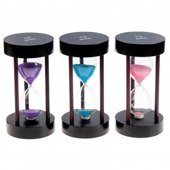 Часы песочные, круглые, 15 минут, мдф, микс песка 10*18см