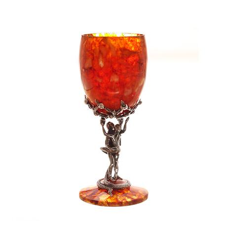 Бокал для вина искушение из янтаря на 1 персону (ювелирная бронза)
