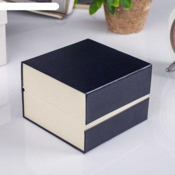 Шкатулка картон, бархат под часы 1 отделение рябь фиолет 7,5х10,5х10,5 см