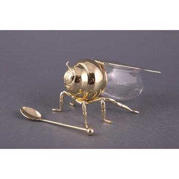 Стеклянная банка для меда пчела с ложкой (длина 14 см)