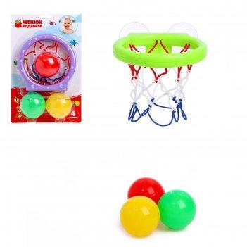 Баскетбол бросок, на присосках, с тремя мячиками, цвета микс