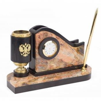 Письменный мини-набор с гербом россии камень яшма