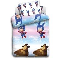 Кпб детский маша и медведь маша супергерой  112*147 см, 110*150 см, 40*60