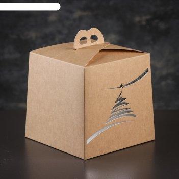 Упаковка для торта, премиум, new year, крафт с серебром, 20,4 х 20,4 х 19