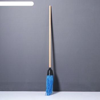 Метла деревянная, 140 см, 4 фланца, массив бука, микс