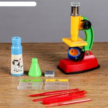 Микроскоп юный исследователь, кратность увеличения 300х, в комплекте калей