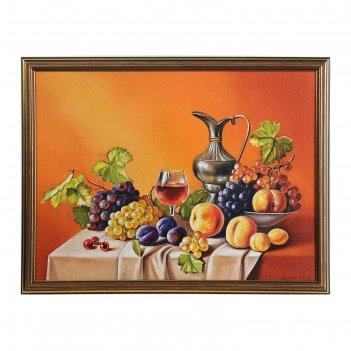 Картина натюрморт с кувшином и фруктами 33*43 см